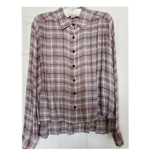Volcom Women Plaid High Low Button Down Top